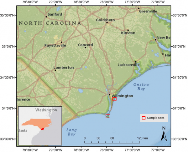 Figure 1: Reference map of North Carolina displaying the research locations (red squares) Masonboro Island North and Bald Head Island South.