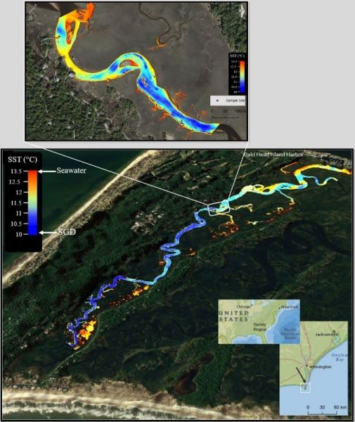 Figures 2 and 3: Top: Nadir view of a clipped section of the UAS-TIR imagery focused on the geochemical tracer sample site at Bald Head Island Tidal Creek. Bottom: Off-nadir view of Bald Head Island Tidal Creek UAS-TIR survey region overlaid on a 3DEP-derived DEM.