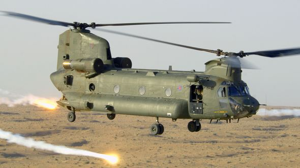 Chinook Releases Flares over Afghanistan